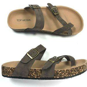TOP MODA Womens Amara Comfort Sandals Brown Mocha